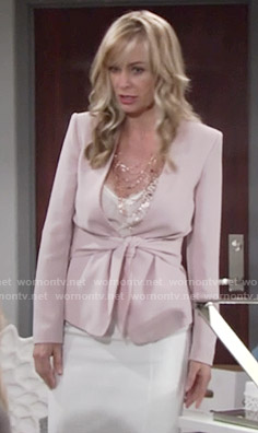 Ashley's pink tie-waist jacket on The Young and the Restless