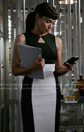 Camille's black and white dress on Bones