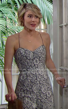 Caroline's lace jumpsuit at Steffy's wedding on The Bold and the Beautiful