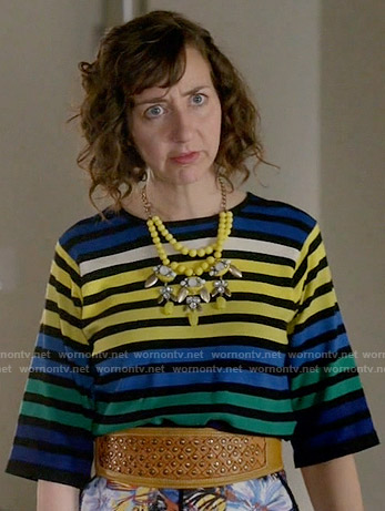 Carol's blue and yellow striped top on Last Man on Earth