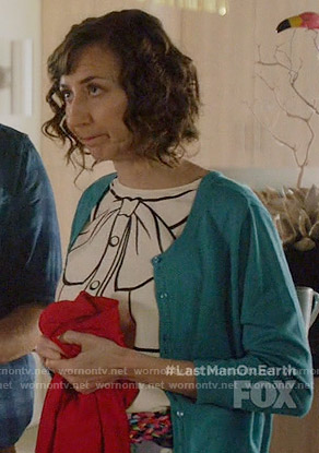 Carol's bow graphic top on Last Man on Earth