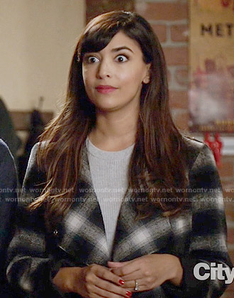Cece's black and white checked jacket on New Girl