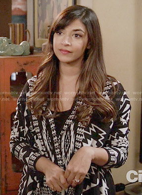 Cece's black and white printed drape front cardigan on New Girl