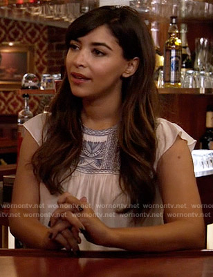 Cece's embroidered top on New Girl