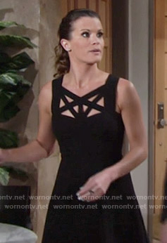 Chelsea's black dress with front cutouts on The Young and the Restless