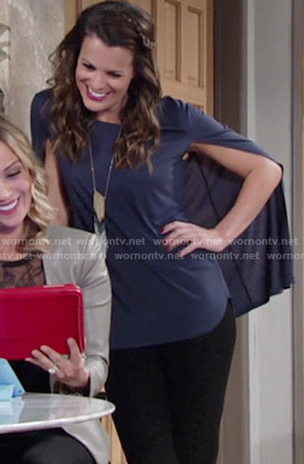 Chelsea's blue caped top on The Young and the Restless