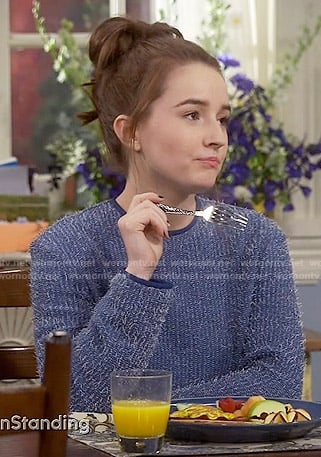 Eve's blue fluffy sweater on Last Man Standing