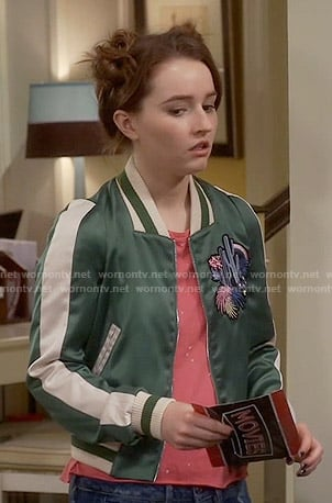 3e46a13763fd5 WornOnTV: Eve's green varsity jacket on Last Man Standing | Kaitlyn Dever |  Clothes and Wardrobe from TV