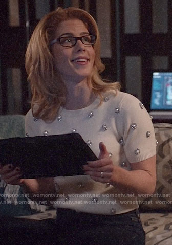 Felicity's white pearl embellished sweater on Arrow