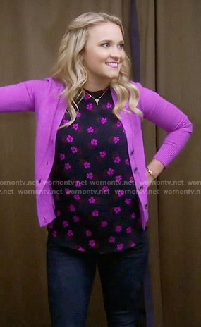 Gabi's navy and pink floral top on Young and Hungry