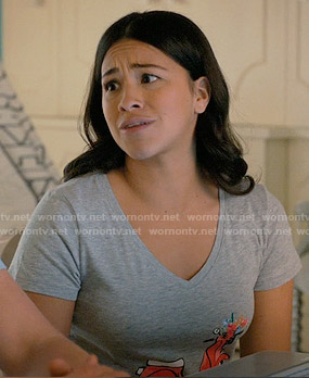 Jane's scooter print tee on Jane the Virgin