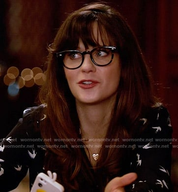 Jess's bird print dress on New Girl