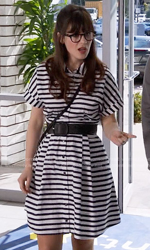 Jess's striped shirtdress on New Girl