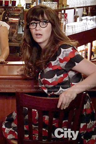 Jess's red and navy printed dress on New Girl