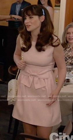 Jess's pink bow dress on New Girl