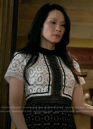 Joan's black and white lace dress on Elementary