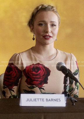 Juliette's beige rose print dress on Nashville