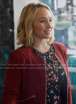 Juliette's black floral top and red suede jacket on Nashville