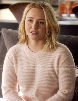 Juliette's pink ribbed sweater on Nashville