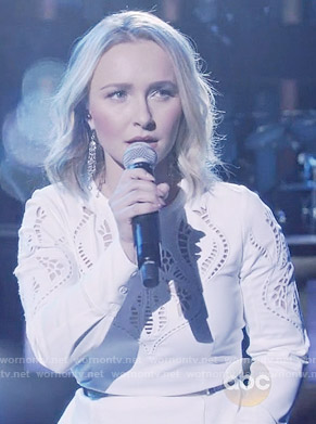 Juliette's white cutout top on Nashville
