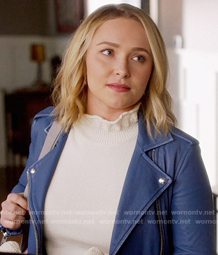Juliette's white ruffled neck sweater and blue moto jacket on Nashville