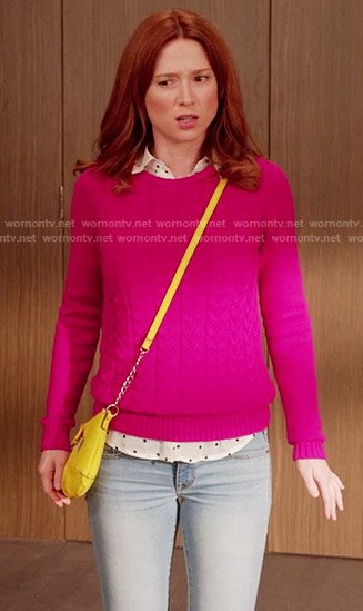 Kimmy's pink cable knit sweater on Unbreakable Kimmy Schmidt
