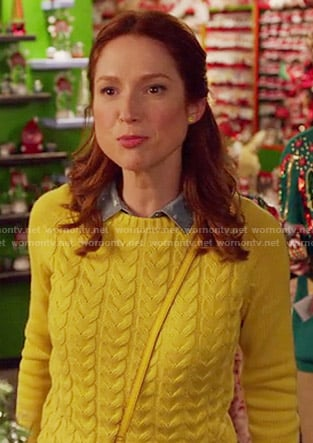 Kimmy's yellow cable knit sweater on Unbreakable Kimmy Schmidt
