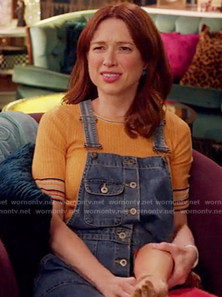Kimmy's yellow top and denim overall dress on Unbreakable Kimmy Schmidt