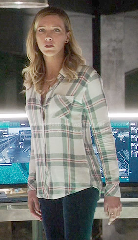 Laurel's white plaid shirt on Arrow