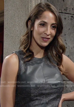 Lily's black leather and lace top on The Young and the Restless