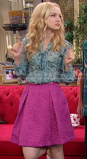 Liv's blue floral blouse and pink skirt on Liv and Maddie