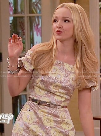 Liv's floral ruffle sleeved dress on Liv and Maddie