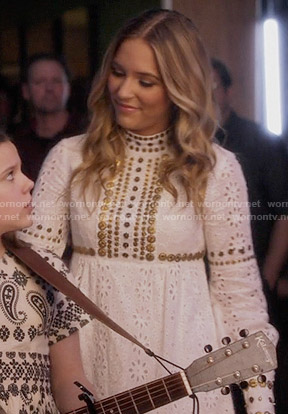 Maddie's white long sleeved eyelet dress on Nashville