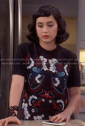 Mandy's black embroidered short sleeve dress on Last Man Standing