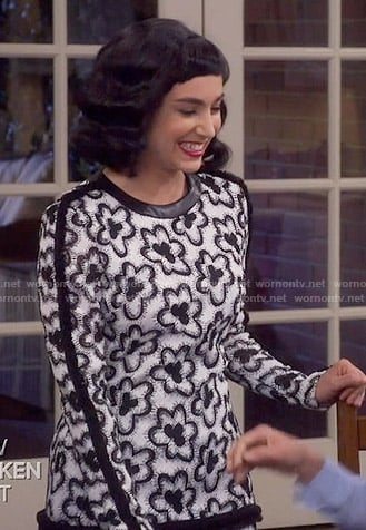 Mandy's black and white floral long sleeve dress on Last Man Standing