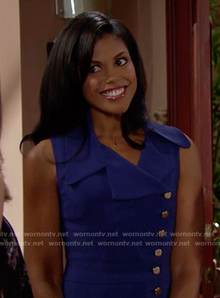 Maya's blue button front dress on The Bold and the Beautiful