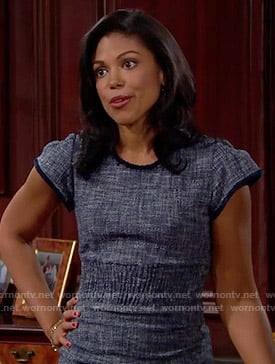 Maya's blue tweed dress on The Bold and the Beautiful