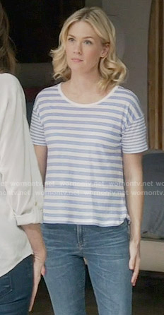 Melissa's blue striped tee on Last Man on Earth