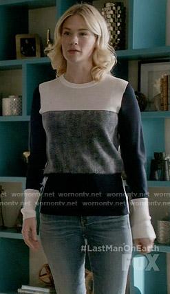 Melissa's navy colorblock sweater on Last Man on Earth