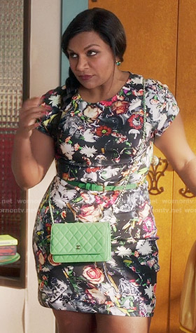 Mindy's black floral short sleeved dress on The Mindy Project