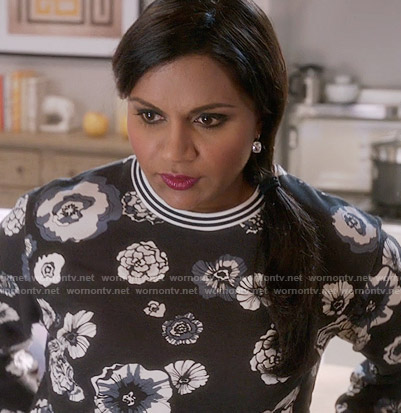 Mindy's black floral sweater on The Mindy Project