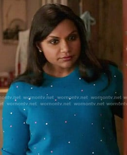 Mindy's blue dotted sweater on The Mindy Project