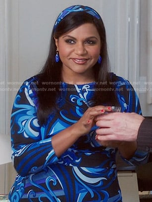Mindy's blue swirl printed dress on The Mindy Project