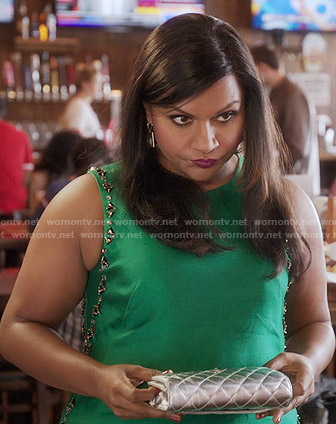 Mindy's green dress with embellished trim on The Mindy Project
