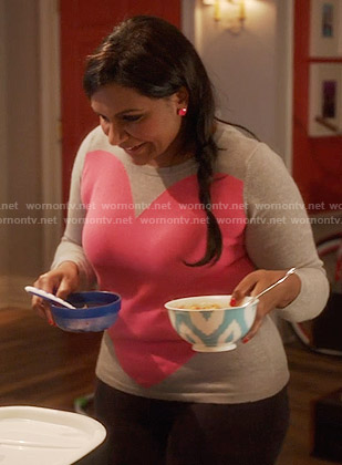 Mindy's grey and pink heart sweater on The Mindy Project