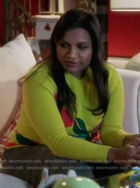 Mindy's yellow graphic print sweater on The Mindy Project