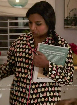 Mindy's pear print pajamas on The Mindy Project