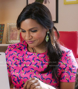 Mindy's pink banana print dress on The Mindy Project