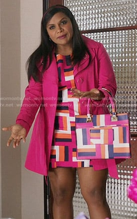 Mindy's pink geometric print dress and matching handbag on The Mindy Project
