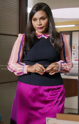 Mindy's pink striped shirt and pink  satin skirt on The Mindy Project